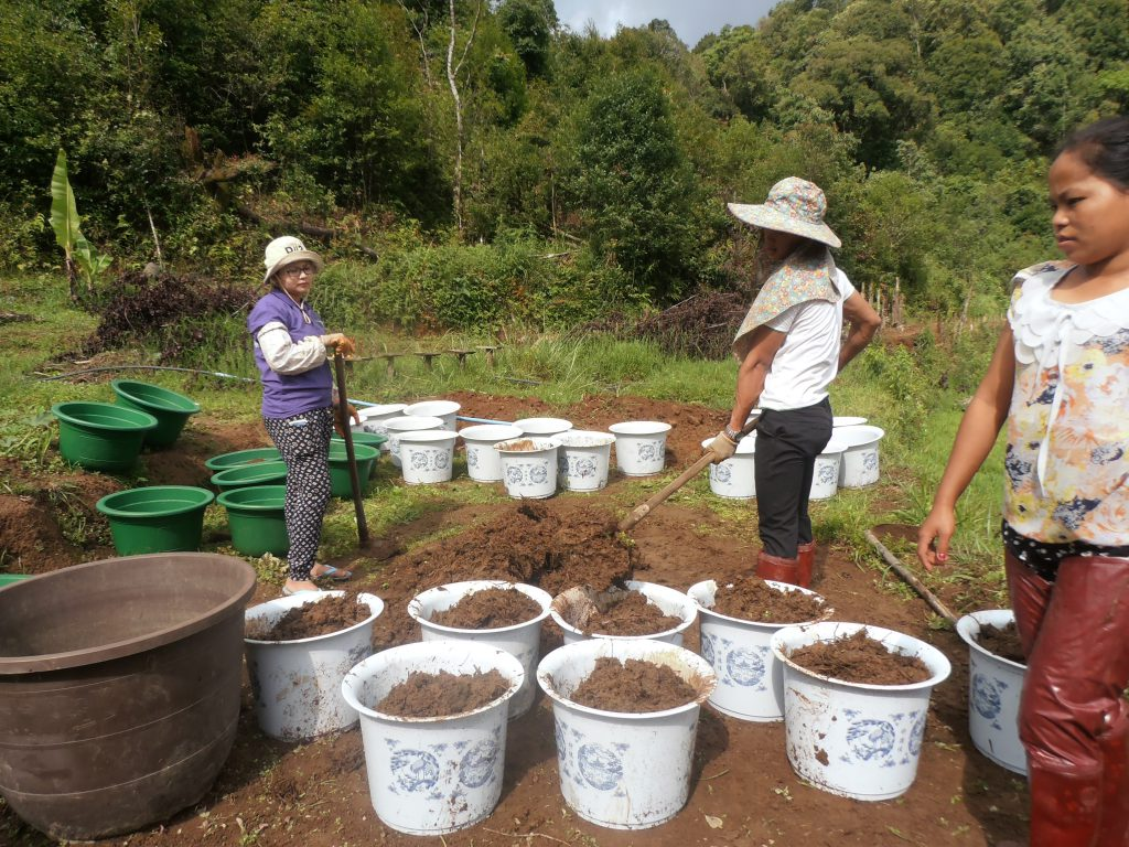 Put the soil to bucket